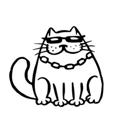 Funny cartoon contour mafia cat vector