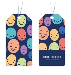 Funny faces vertical stripe frame pattern tags set vector