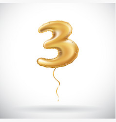 golden number three 3 metallic balloon metallic vector image