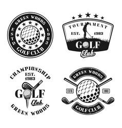 golf set four emblems badges labels vector image