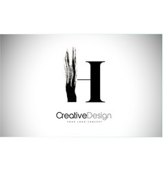 H brush stroke letter logo design black paint vector