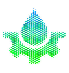 Halftone blue-green water service icon vector