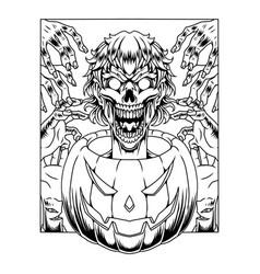 Halloween pumpkin mascot logo with zombie head vector