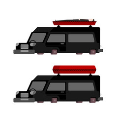 hearse and coffin cartoon style funeral car vector image