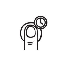 hold timer gesture sketch icon vector image vector image