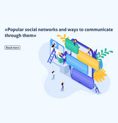 Isometric article young people in social networks vector