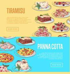 italian sweet menu flyers with national dishes vector image