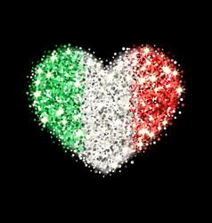 Italy flag sparkling heart badge vector