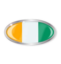Ivory coast flag oval button vector