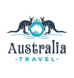 kangaroo shield vintage logo design vector image