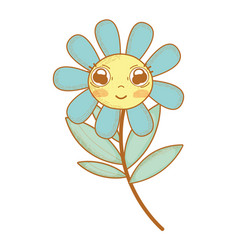 Kawaii cute flower plant with big eyes and cheeks vector