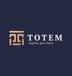 letter t totem logo creative crest letter t logo vector image