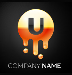 letter u splash logo golden dots and bubbles vector image