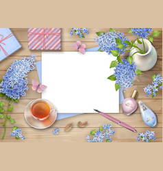 Lilac on wooden background vector