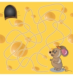 Maze or Labyrinth Game with Funny Mouse vector image