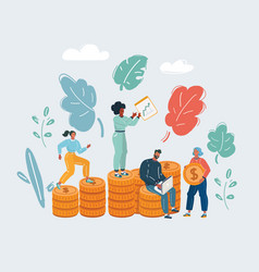money concept people and stack coin vector image