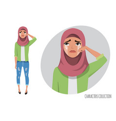 Muslim woman crying muslim young woman wearing vector
