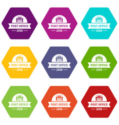 office post icons set 9 vector image