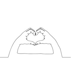 one line hands in love gesture continuous line vector image