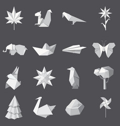 origami icons set cartoon style vector image