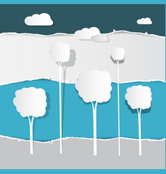 paper cut trees on torn paper background vector image