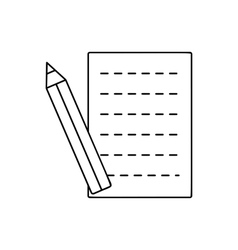 Pencil and sheet line icon vector