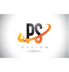 Ps p s letter logo with fire flames design vector