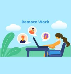 remote work horizontal banner girl freelancer vector image
