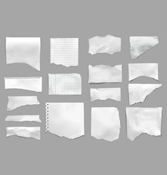 Ripped torn paper realistic set vector