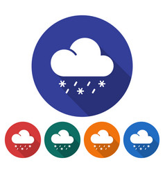 round icon of rain with snow flat style with long vector image