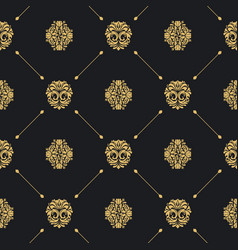 Royal baroque seamless black pattern vector