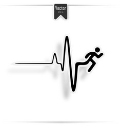 running man and heartbeat icon vector image