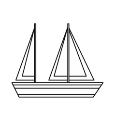 Sailing boat icon outline style vector image