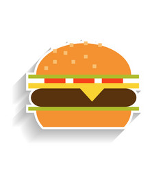 sandwich with meat cheese tomatoes and lettuce vector image