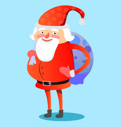 Santa claus with hefty bag of gifts on his back vector