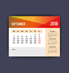 september calendar isolated icon vector image