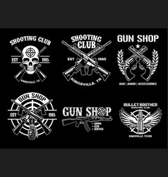 Set collection shooting club badge design vector
