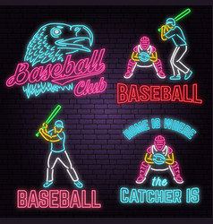 set neon baseball club badge vector image