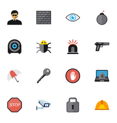 Set of 16 editable security icons includes vector