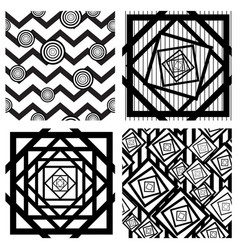 Set of four seamless geometric backgrounds vector
