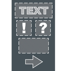 Set of frames and sign with text on grey backgroud vector image