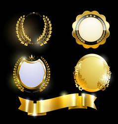 set-of-golden-labels vector image