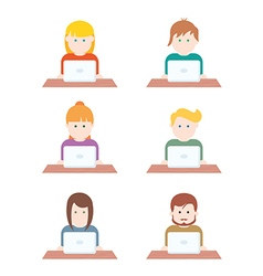 Set of people with computer icons avatar vector