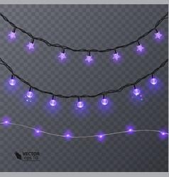 Set of purple garlands festive decorations vector