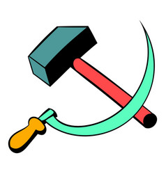 Sickle and the hammer icon cartoon vector