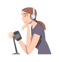 side view young woman in headphones doing live vector image