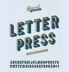 slanted letter press vintage alphabet vector image