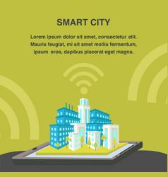 smart city flat banner template vector image