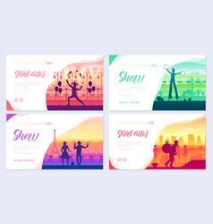 street artists around the world brochure cards set vector image