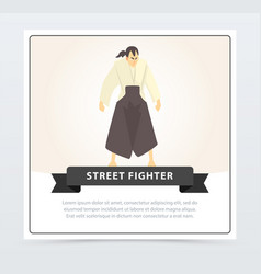 Street fighter banner martial arts fighter vector
